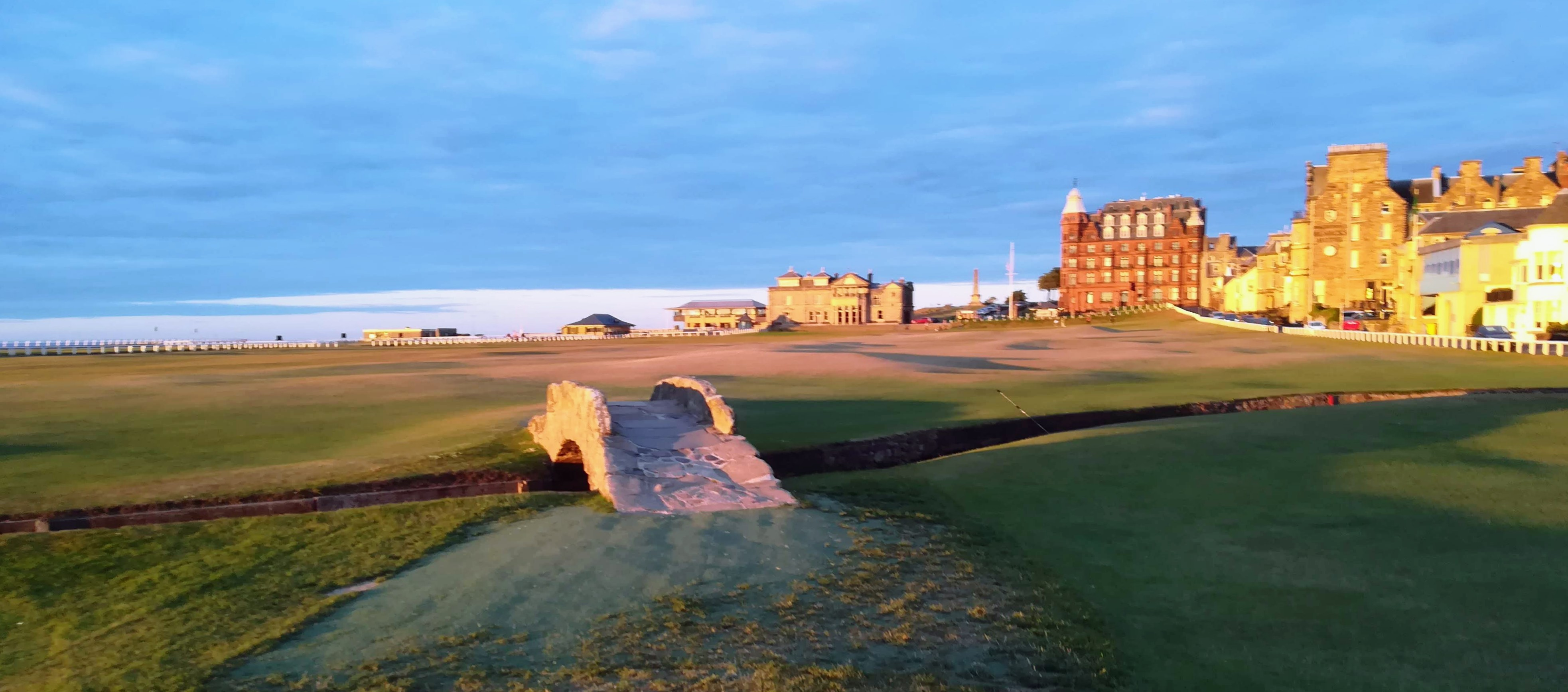 Golfer's Bridge Old Course at sunset
